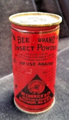 Old Advertising Tin BEE BRAND Insect Powder McCormick & Co Baltimore MD Poison