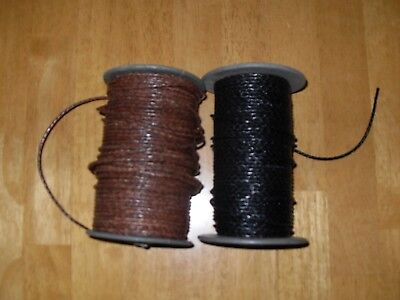 Braided Leather Cord 2mm  Genuine Real Leather Antique Brown & Black