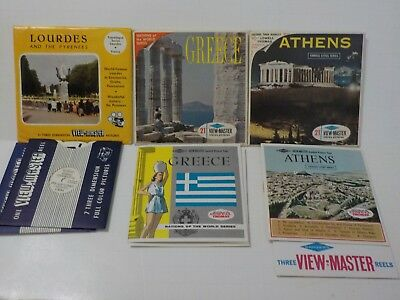 VTG View Master Athens Lowell Thomas Lourdes Greece 3 reel sets