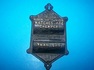 "Antique Cast Iron Wall Hanging Match Holder Pat. June 1899  Very Unique 7 "" Long"