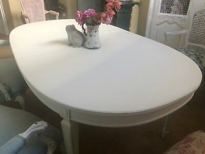 Vintage Mid Century Dining Table ~ French Country Farmhouse Style  Cottage White