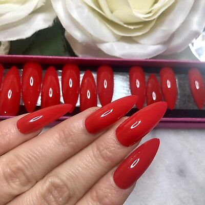 Hand Painted Full Cover False Nails. Long Stiletto High Gloss Red Nails.