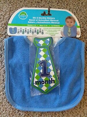 Neat Solutions Baby Boy Bib-Monthly Milestone Stickers-Tie-Blue-Photography-NEW