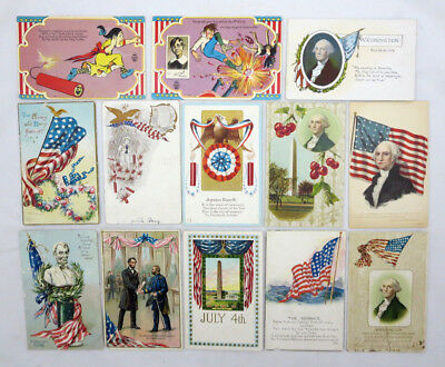 Lot of 13 Fourth of July/Patriotic Postcards Washington Lincoln