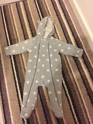Marks and Spencer Grey Snowsuit / Pramsuit  Stars age 3-6 Months M&S