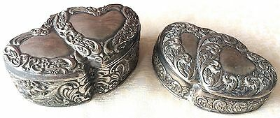 Vintage Silver-Plated Embossed Jewelry/Trinket Boxes (8144)(pair), Made in Japan