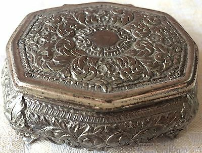 Vintage Silver Embossed Lion Footed Jewelry /Trinket Box (8145), Made in Japan