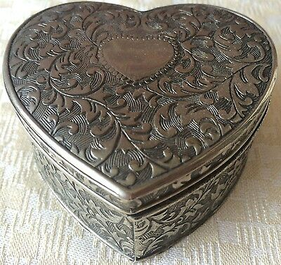 Vintage Silver-Plated Embossed Jewelry/Trinket Box (8170), Made in Japan