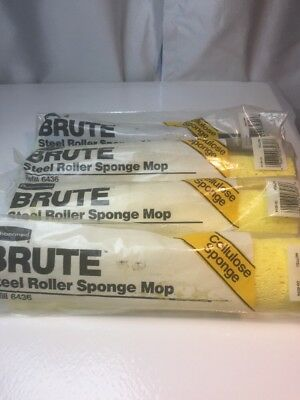 4 lot case Rubbermaid BRUTE Steel Roller Sponge Mop Head Refill 6436-00 Yellow