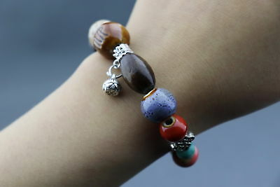 Decorate China Porcelain Carve Texture Smooth Bead Delicate Girl Bracelet Gift