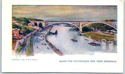 """1900s Chicago Sunday American Postcard """"Along the Picturesque New York Speedway"""""""