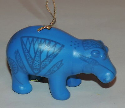 Vintage MMA Museum Modern Art William the Hippo Egyptian Blue Christmas Ornament