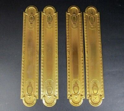 4x Door Push Plates Antique 2 Pair French Ornate Brass Victorian Finger Plate