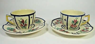 Vtg HB QUIMPER Cup and Saucer Pair Edge Hand Painted French Faience Antique