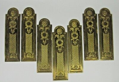 Door Push Plates Antique 7 Pieces French Ornate Brass Victorian Finger Plate