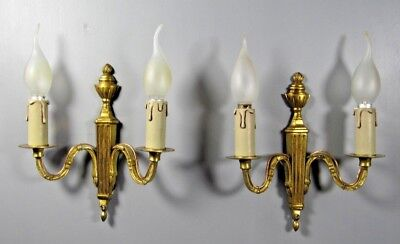 Antique Empire Style Sconce French PAIR Brass Bronze Wall Light Lamp Fixture