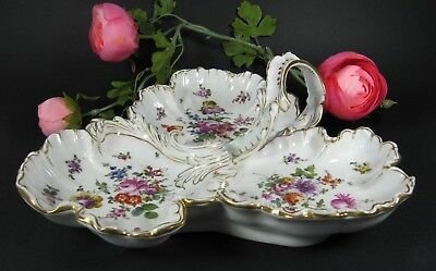 Antique French HAND PAINTED Relish Divided Serving Tray Dish Old Paris Porcelain