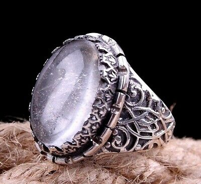 crystallized quartz NATURAL  Stone Turkish 925 Sterling Silver Mens Ring Sz 10