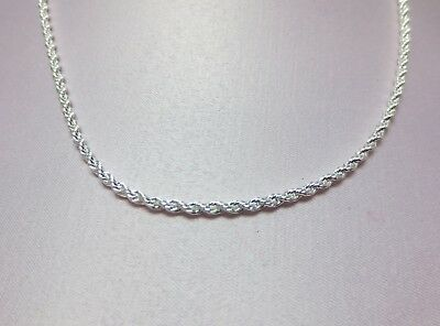 16,18,20,24,30 Inch  Sterling Silver Plated 3 Mm Rope Chain Necklace