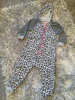 Grey Pink Leopard Print Sparkle Girls All In One Playsuit Next 5yrs Jumpsuit