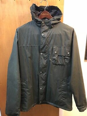 Aunthentic Barbour Durham Hooded Flyweight Waxed Cotton Jacket XL NWOT $365