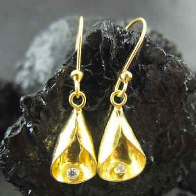 Ancient Handmade Hammered Earring  With Topaz Gold over 925K Sterling Silver