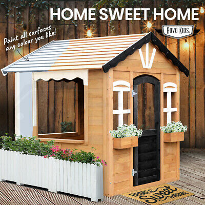 【EXTRA 10%OFF】ROVO KIDS Cubby House Wooden Outdoor Playhouse Cottage