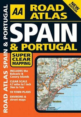 AA Road Atlas Spain and Portugal by AA Staff Paperback Book The Cheap Fast Free