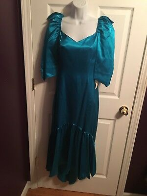 Vintage 80s Prom Party Formal Dress Womens Size 10 Teal Satin