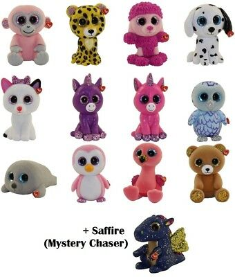 2018 Full Set of 12 Ty Mini Boo Series 3 Hand Painted Figurines & Saffire Chaser