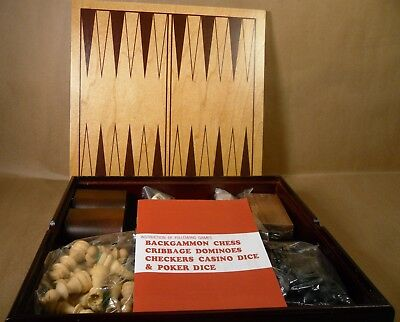 Wooden Chess Set Deluxe 6 In 1 Checker Backgammon Board Game Cards Dice Storage