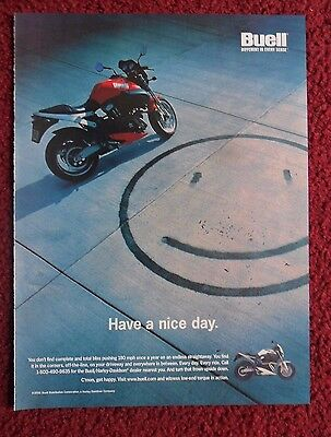 2001 Print Ad BUELL Motorcycle ~ Have A Nice Day Smiley Face Burn Marks