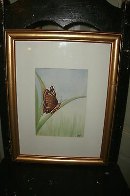 KA Rice Framed Watercolor Painting of a Butterfly on a Blade of Grass