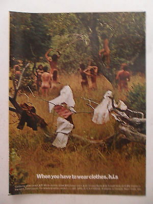 1971 Print Ad H.I.S. Clothing Fashion ~ Nude Gathering When Have to Wear Clothes