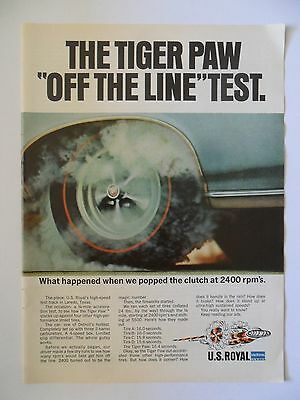 """1966 Print Ad Tiger Paw Tires ~ """"Off The Line"""" Test"""
