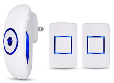 Wireless LED Doorbell Chime 4 Volume 1000FT 2 Transmitters and 1 Plugin Receiver