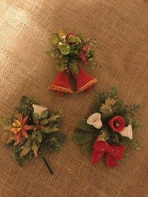 Vintage Lot of 3 CHRISTMAS CORSAGE - 50's PLASTIC glitter BELLS BOWS FLOWERS