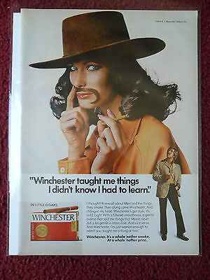 1974 Print Ad Winchester Little Cigars ~ Pretty Girl w/ Cowboy Hat ~ Taught Me