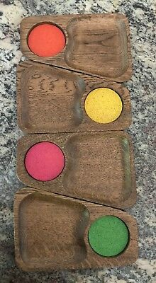 4 Vintage colored Cork Coaster Snack Tray Set Japan Red Green Yellow Pink TV-110