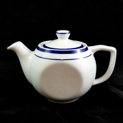 """Vintage Lubiana Poland 3.5"""" White Porcelain Flat Sided Teapot With Blue Striping"""