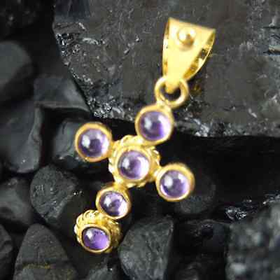 Ancient Handmade Amethyst Hammered Cross Pendant 24K Gold over Sterling Silver