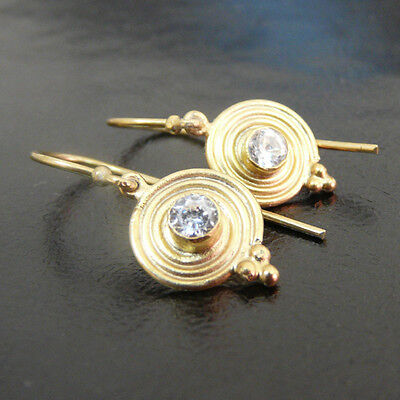Handmade Ancient Earring With White Topaz Yellow Gold over 925K Sterling Silver