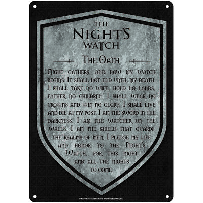 Game of Thrones Tin Metal Wall or Door Sign Oath of the Night's Watch