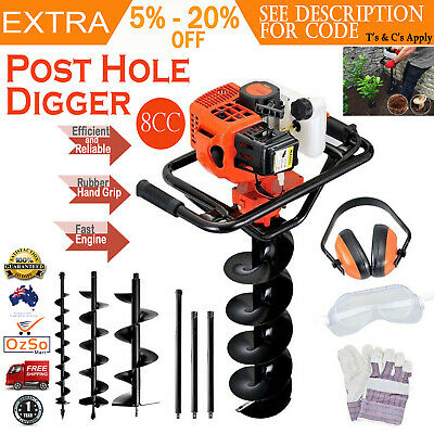 88cc Petrol Post Hole Garden Backyard Digger Earth Auger Drill Kit Set