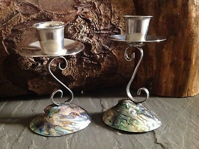Vintage Pair of Paua Shell and Silver Plated Candlesticks Ataahua