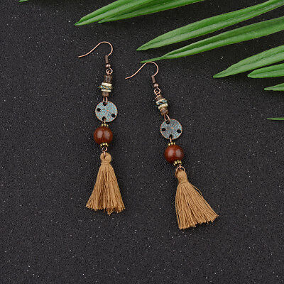 Charm Women Fashion Bohemian Long Tassel Ear Drop Dangle Ethnic Retro Earrings