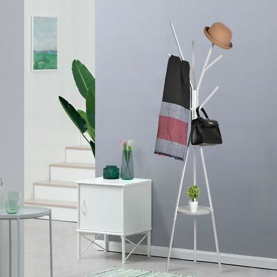 Coat Rack Stand Clothes Hangers Hat Jacket Bag Umbrella Hook Scarf Holder White