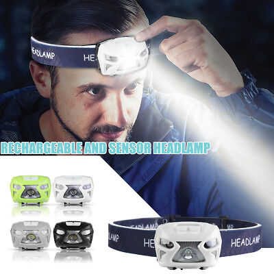 12000LM LED Headlamp Head Light Torch Motion Sensor USB Rechargeable Flashlight
