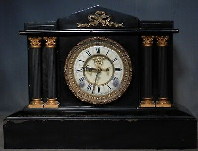 Antique Ansonia Open Escapement Cast Iron TEMPLE Boston Extra Mantel Clock Runs