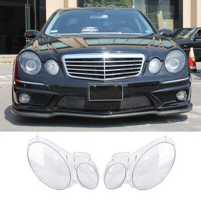 Pair Left&Right Headlight Lens Lamp Covers For Mercedes Benz W211 E300 2002-2008